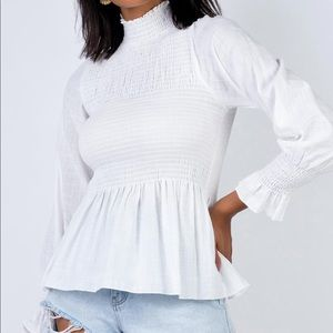 NWT Princess Polly White Shirred Ruched Blouse